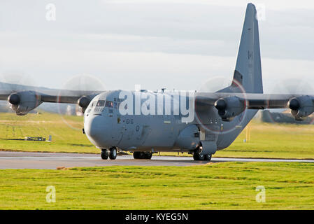 Lockheed CC-130J-30 from RCAF (8Wing) Trenton Ontario Canada arriving at RAF Lossiemouth in Scotland. - Stock Image