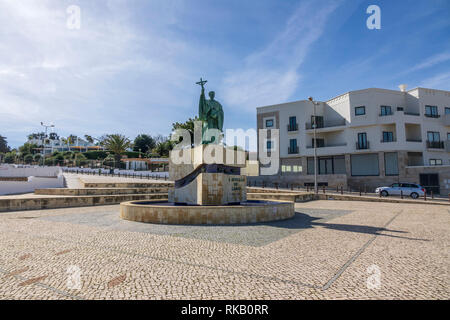 Monument To The Portugueses Saint Goncalo In Lagos The Patron Saint Of Fishermen In Lagos The Algarve Portugal - Stock Image