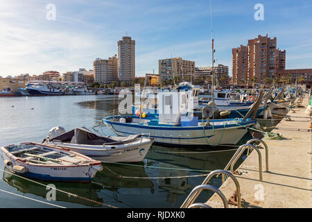Fuengirola, Costa del Sol, Malaga Province, Andalusia, southern Spain.  Fishing boats in harbour. - Stock Image
