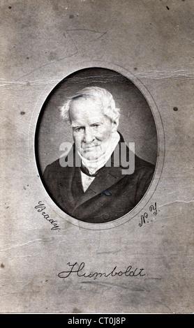 Portrait of explorer and naturalist Alexander von Humboldt, by Mathew Brady Gallery, ca 1857 - Stock Image