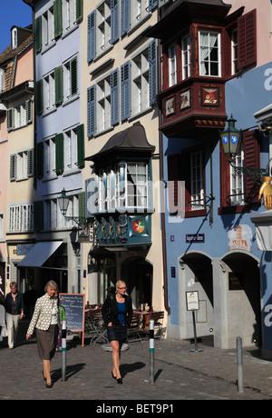 Switzerland, Zurich, old town street scene - Stock Image