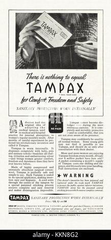 1939 UK Magazine Tampax Advert - Stock Image