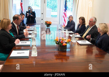 U.S. Secretary of State Rex Tillerson meets with the Leader of the New Zealand Labour Party, Andrew Little, in Wellington, - Stock Image