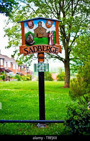 Sadberge Village Sign, Sadberge, Borough of Darlington, England - Stock Image