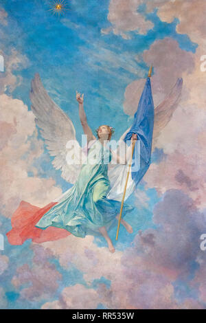 Painting of Marianne, symbol of France, on a ceiling in the Château de Chantilly, Oise, France - Stock Image