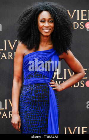 London, UK. 7th Apr 2019. Beverley Knight poses on the red carpet at the Olivier Awards on Sunday 7 April 2019 at Royal Albert Hall, London. Picture by Credit: Julie Edwards/Alamy Live News - Stock Image