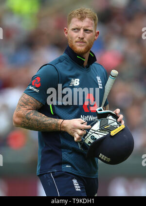 England's Ben Stokes shows his frustration after losing his wicket during the One Day International match at Emerald Headingley, Leeds. - Stock Image