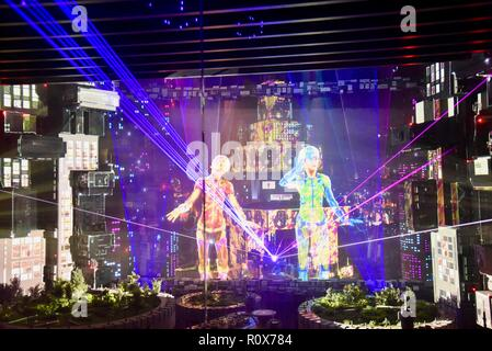 Panasonic booth features futuristic concert with augmented & virtual reality, made with 3D scanning, CES (Consumer Electronics Show), Las Vegas, USA. - Stock Image