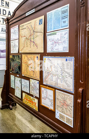 U-Bahn Museum Berlin. Transport museum in one of the former historic control rooms at the Olympia Stadium metro station. Collection of old U-bahn maps - Stock Image