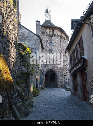 Rue du Beffroi, Salers, Cantal, France - Stock Image