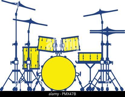 Drum set icon. Thin line design. Vector illustration. - Stock Image