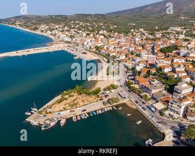Aerial view panoramic postcard of Thasos Limenaria City, Greece - Stock Image