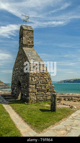 Remains of the church of St Brynach at Cwm yr Eglwys, after huge storms around 1850. The village is at the mouth of a creek on the north Pembs Coast - Stock Image