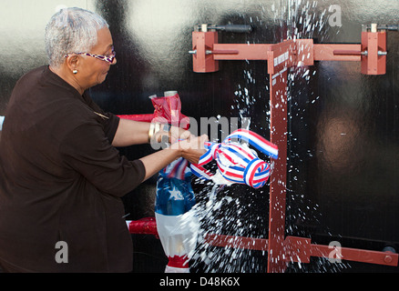 USNS Montford Point is christened. - Stock Image