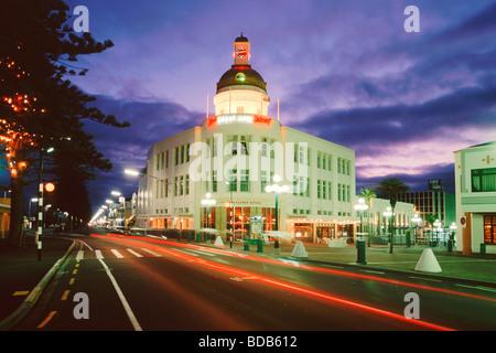 new zealand South island Napier art nouveau architecture in twilight - Stock Image