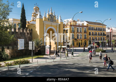 The Macarena Gate, part of the historic city walls, and a working class barrio district in the north eastern region of Seville, Spain. - Stock Image