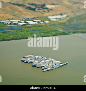 Aerial View of Military Ships - Stock Image