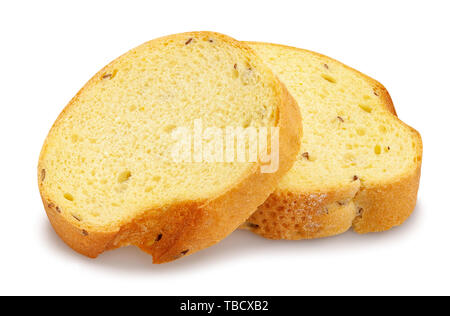 sliced bread path isolated on white - Stock Image