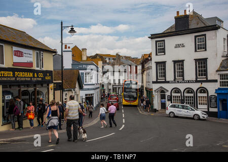 Lyme Regis, seaside town on the Jurassic Coastline set between the counties of West Dorset and East Devon, England, United Kingdom - Stock Image