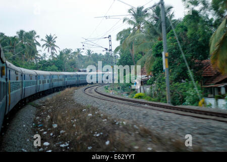 Indian railways train on a curve - Stock Image