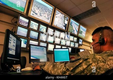 US-Mexico international border communications department of Yuma Border Patrol Sector monitoring the border along - Stock Image