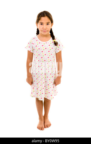 little girl wearing a nightgown isolated on white - Stock Image