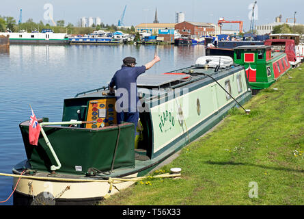 Narrowboat moored in Goole Marina, Goole, East Yorkshire, England UK - Stock Image
