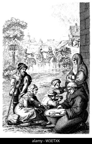 Wegelagerer, Travelling people around 1580, ,  (cultural history book, 1875) - Stock Image