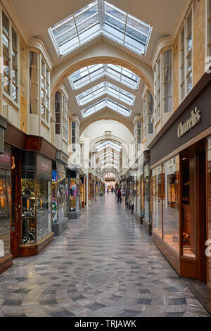 LONDON - MAY 17, 2019: Burlington arcade interior with people and luxury shops in London, England. - Stock Image
