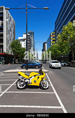The Melbourne Docklands end of Bourke Street has a mix of apartments and Corporate Offices in Melbourne Docklands,Victoria Australia. - Stock Image
