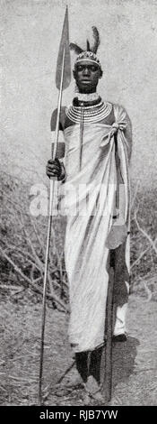 Tribesman with his spear, French Congo, Central Africa. - Stock Image