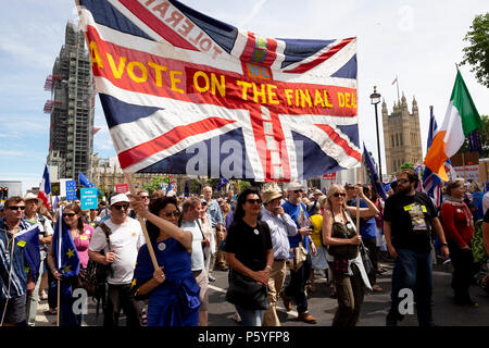 London, UK. 23rd June 2018. A Union Jack on the March for a Peoples Vote.  Credit: Scott Hortop/Alamy Live News. - Stock Image