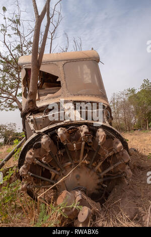 Aviation in Africa: A tree grows through the wreck of an old Max Holste Broussar aircraft in Ouagadougou, the capital of Burkina Faso in West Africa - Stock Image