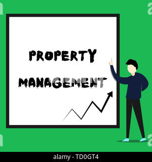 Writing note showing Property Management. Business concept for Overseeing of Real Estate Preserved value of Facility Young man standing pointing up re - Stock Image