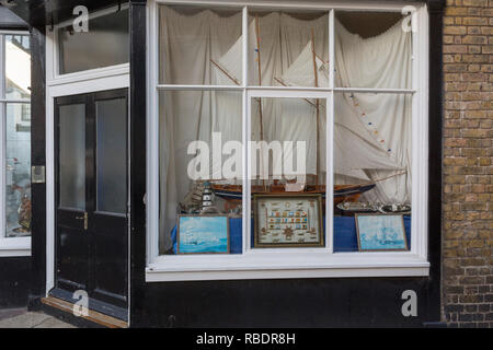Sailing yacht window on Ramsgate's Addington Street, on 8th January 2019, in Ramsgate, Kent, England. The Port of Ramsgate has been identified as a 'Brexit Port' by the government of Prime Minister Theresa May, currently negotiating the UK's exit from the EU. Britain's Department of Transport has awarded to an unproven shipping company, Seaborne Freight, to provide run roll-on roll-off ferry services to the road haulage industry between Ostend and the Kent port - in the event of more likely No Deal Brexit. In the EU referendum of 2016, people in Kent voted strongly in favour of leaving the Eur - Stock Image
