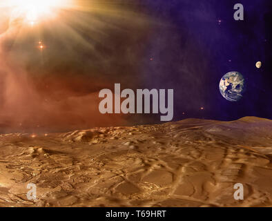 Mars planet landscape. Martian surface and dust in the atmosphere with Earth and Moon on horizon. Dust storm on Mars. Elements of this image furnished - Stock Image