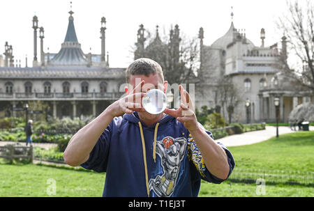 Brighton, UK. 26th Mar, 2019. Shane McQuire hones his skills by Brightons Royal Pavilion on a lovely sunny Spring day as the weather is forecast to be warm with more sunshine throughout Britain over the next few days Credit: Simon Dack/Alamy Live News - Stock Image