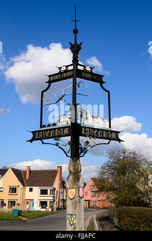 The village sign of Lavenham, Suffolk, England, UK. - Stock Image