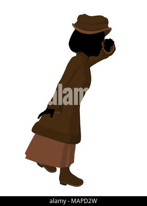 Victorian girl silhouette on a white background - Stock Image