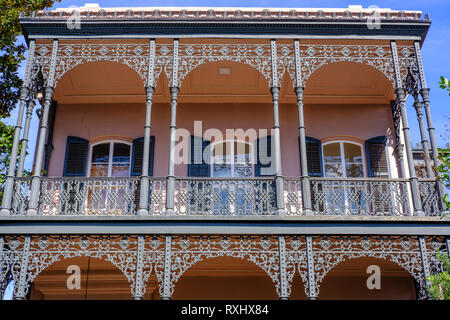 Detail of cast iron balcony, Musson-Bell House balcony, Italianate villa built in 1853 by Michel Musson, Garden District, New Orleans, Louisiana, USA - Stock Image