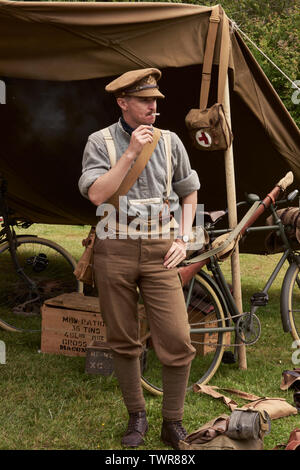 Officer in WW1 re-enactment uniform - Stock Image