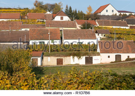 The distinctive terraced arrangement of wine cellars of Mittelberg Kellergasse is a popular destination for wine lovers in Lower Austria - Stock Image