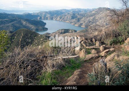 The Blue Ridge Loop is a 5-mile hike which overlooks Lake Berryessa in California. - Stock Image