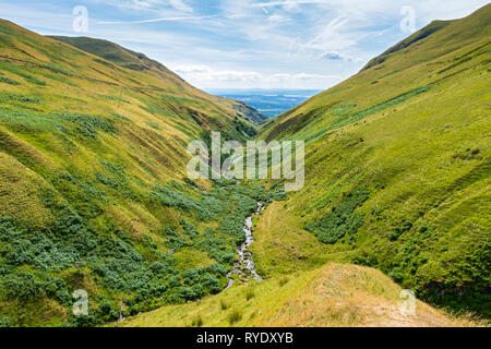 The upper reaches of Alva Glen in the Ochil Hills, Clackmannanshire, Scotland, UK - Stock Image