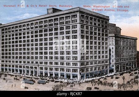 Marshall Field & Co, department store, State Street, Washington Street and Wabash Avenue, Chicago, Illinois, USA. - Stock Image
