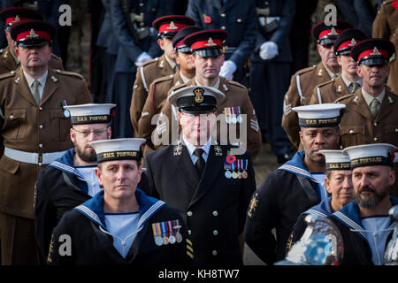 Members of the armed forces take part in Remembrance Sunday parade in Wolverhampton, UK. - Stock Image