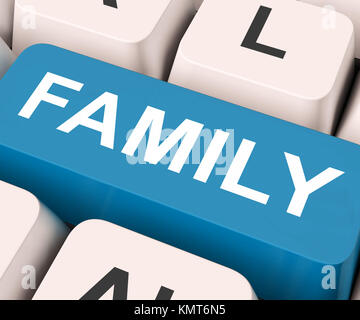 Family Key On Keyboard Meaning Relatives Relations Or Blood Relation - Stock Image