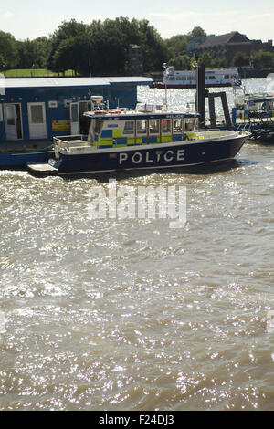 Police boats as seen from The Thames Police Museum at Wapping Police station on the bank of the River Thames in - Stock Image