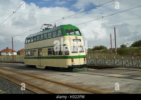 Blackpool Heritage Balloon Tramcar No.723 Reversing at Thornton Gate  -1 - Stock Image