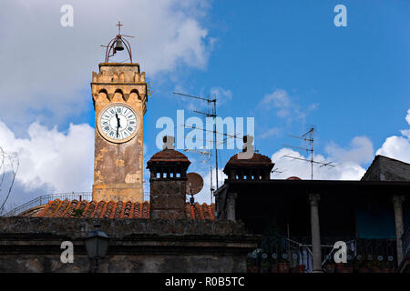 Clock Tower of  Masso Leopoldino in the Tuff Town, Sorano Province of Grosseto, Tuscany, Italy - Stock Image